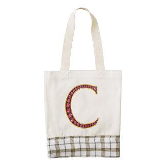 "C Faux-""Ruby"" Monogram Zazzle HEART Tote Bag"