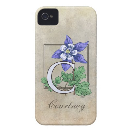 C for Columbine Flower Monogram iPhone 4 Cover