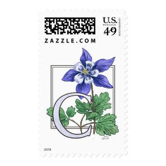 C for Columbine Flower Monogram Postage