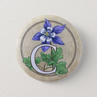 C for Columbine Flower Monogram Round Button