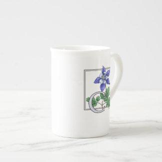 C for Columbine Flower Monogram Tea Cup
