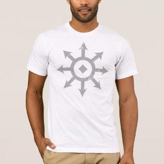 C H A O S Crest Distressed Mens Light Gret T-Shirt