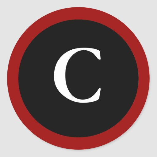 C initial c letter c red white black stickers zazzle for Letter c stickers
