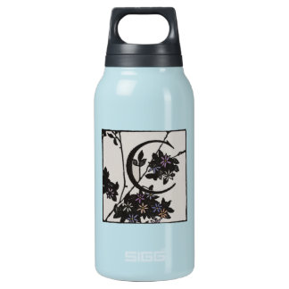 C Initial Cap Decorative Floral Design Vintage Insulated Water Bottle