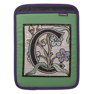 C Initial Cap Decorative Floral Design Vintage Sleeves For iPads