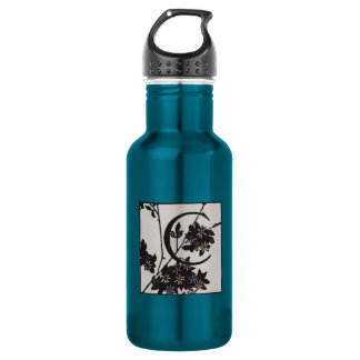 C Initial Cap Decorative Floral Design Vintage Stainless Steel Water Bottle