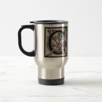 C Initial Cap Decorative Floral Design Vintage Travel Mug