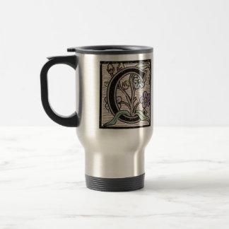 C Initial Cap Decorative Floral Design Vintage Travel Mug
