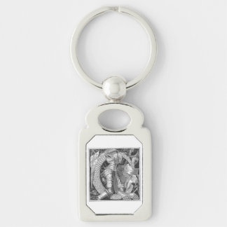 C Initial from History of the County Palatine Silver-Colored Rectangular Metal Keychain