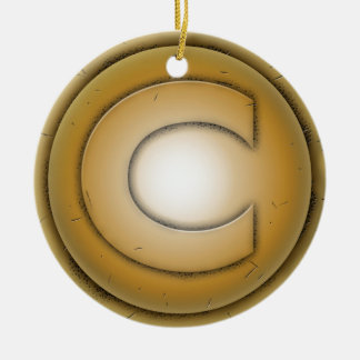 C initial letter ceramic ornament