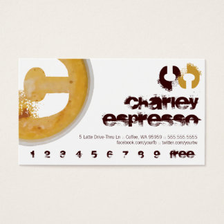 C - Initial Letter Foamy Coffee Cup Loyalty Punch Business Card