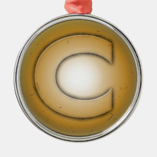 C initial letter metal ornament