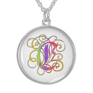"C Initial Monogram ""Gothic Sunshine"" Necklaces"