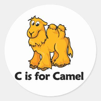 C is for Camel Round Sticker