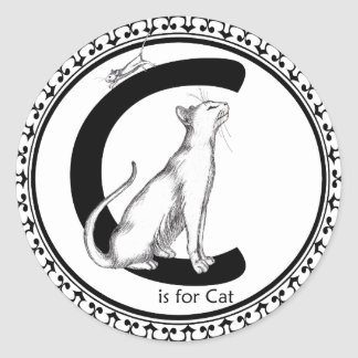 C is for Cat Classic Round Sticker