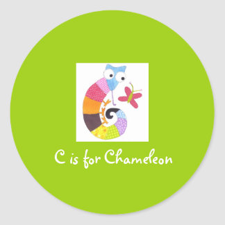 C is for Chameleon Round Stickers