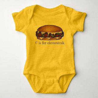 C is for Cheesesteak Philly Cheese Steak Sandwich Baby Bodysuit
