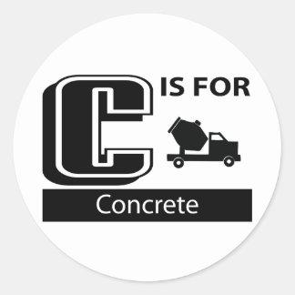 C Is For Concrete Classic Round Sticker