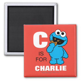 C is for Cookie Monster | Add Your Name 2 Inch Square Magnet
