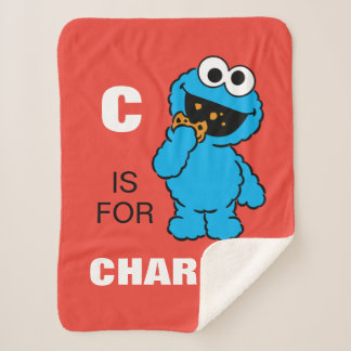 C is for Cookie Monster | Add Your Name Sherpa Blanket