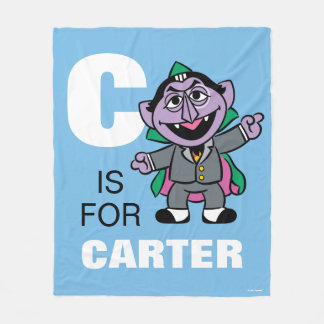C is for Count von Count | Add Your Name Fleece Blanket