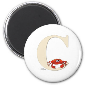 C is for Crab Gifts 2 Inch Round Magnet