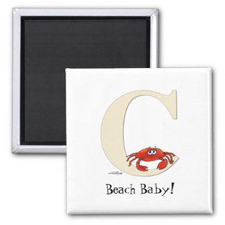 C is for Crab Gifts 2 Inch Square Magnet