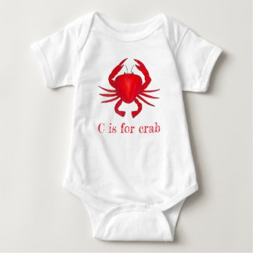 Beach Themed C is for Crab Red Maryland Seafood Crabby Beach Baby Bodysuit