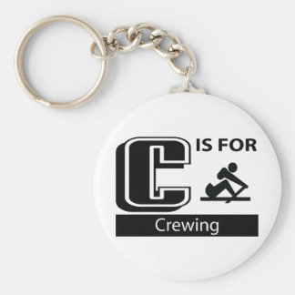 C Is For Crewing Basic Round Button Keychain
