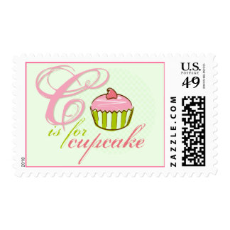 C Is For Cupcake Postage Stamps