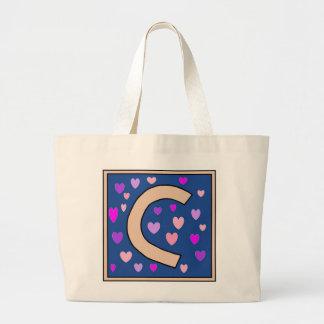C-Just Peachy Monogram Jumbo Tote Tote Bag