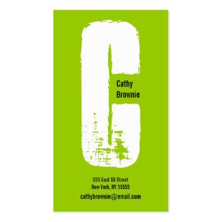 C Letter Alphabet Business Card Olive