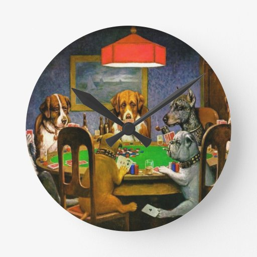C. M. Coolidge Dogs Pets Poker Cards Humor Destiny Wallclocks