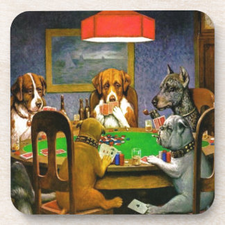 C. M. Coolidge Dogs Pets Poker Cards Humor Destiny Beverage Coasters
