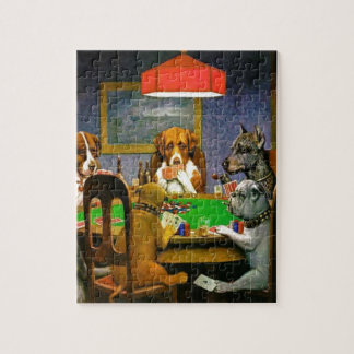 C. M. Coolidge Dogs Pets Poker Cards Humor Destiny Jigsaw Puzzle