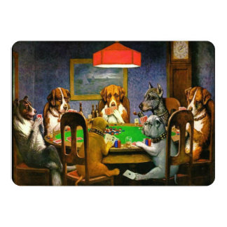 C.M. Coolidge Dogs Playing Poker Personalized Invitation