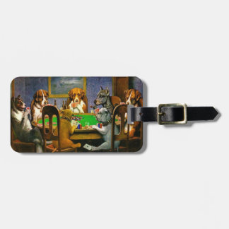 C.M. Coolidge Dogs Playing Poker Luggage Tag