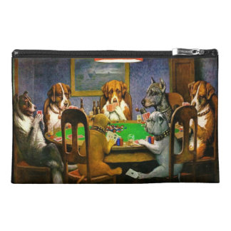 C.M. Coolidge Dogs Playing Poker Mini Bagette Travel Accessories Bag