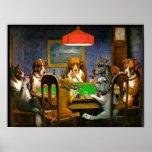 C.M. Perros de Coolidge que juegan el póker Posters