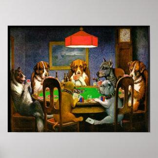 C.M. Perros de Coolidge que juegan el póker Póster