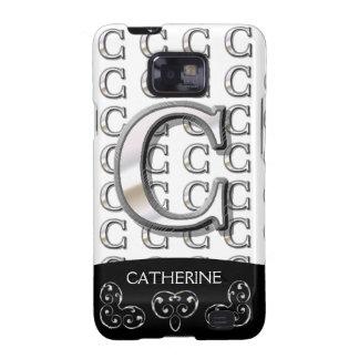 C - Modern Metallic Monogram (Silver) Galaxy SII Case
