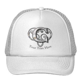 C - Modern Metallic Monogram (Silver) Trucker Hat