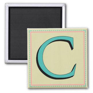 C MONOGRAM 2 INCH SQUARE MAGNET
