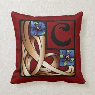 """""""C"""" Monogram Art Nouveau Square Pillow #1"""