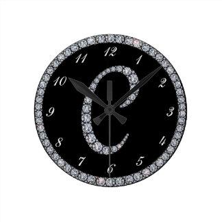 C Monogram bling ring clock