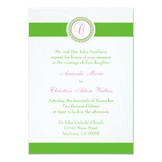 C Monogram Dot Circle Wedding Invitations (Green)