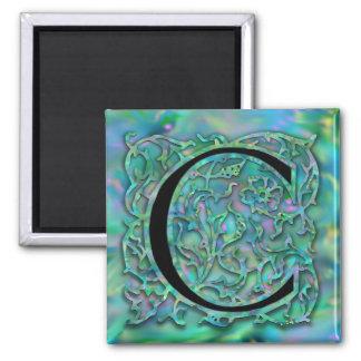 "C Monogram ""Green Garden Besque"" Square Magnet"