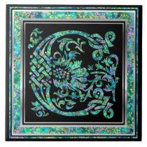 """C Monogram """"Masselle Blue"""" Ceramic Tiles"""