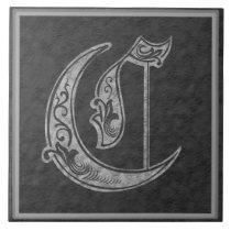 "C Monogram ""Royal Grey Stone"" Ceramic Tile"