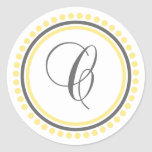 C Monogram (Yellow / Gray Dot Circle) Sticker